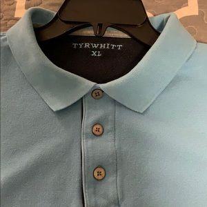 Charles Tyrwhitt Cotton Long-Sleeve Polo. BabyBlue